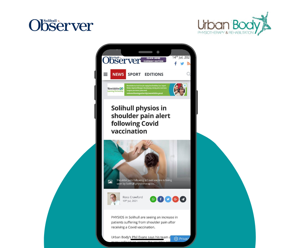 Solihull physios in shoulder pain alert following Covid vaccination  article for Urban Body featuring the leading physio, Phil Evans