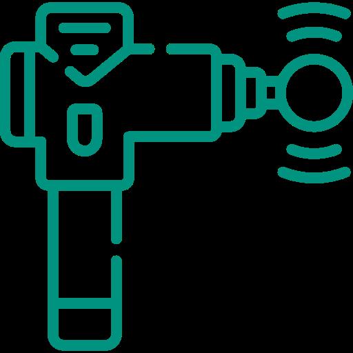 green icon of a sports massage gun